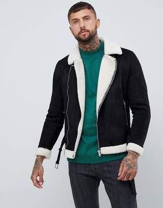 Bershka faux suede biker jacket in black