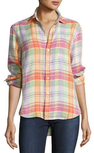 Frank And EileenFrank & Eileen Eileen Plaid Pocket Shirt, Purple/Green/Orange