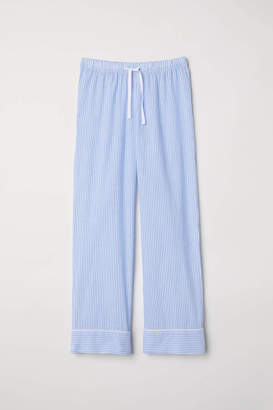 H&M Cotton Pajama Pants - Light blue/striped - Women