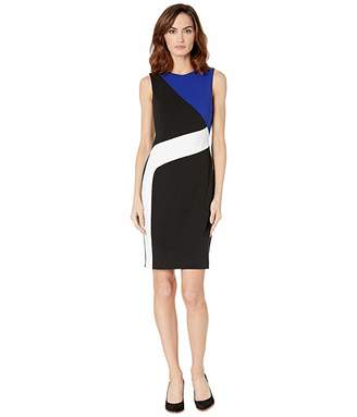Calvin Klein Color Block Crepe Sheath