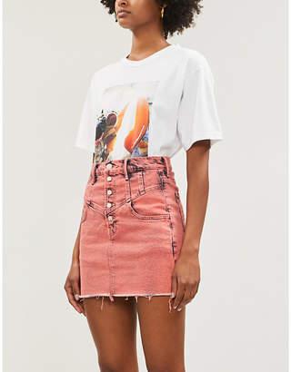 Mother The Swooner high-waist denim mini skirt