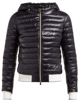 Herno Striped Trim Hooded Quilted Jacket - Womens - Black