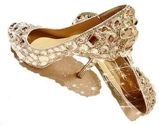Naly Women's Rita Cinderella Bridal Bridesmaid Glass Slipper Princess Wedding Crystal Shoes 6B US
