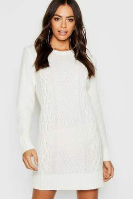 boohoo Cable Knit Soft Boucle Jumper Dress