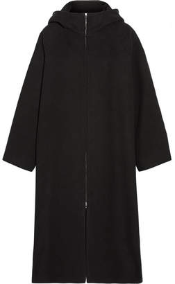 The Row Haylen Hooded Cotton And Wool-blend Coat - Black