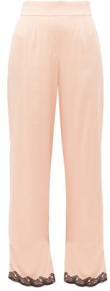 Agent Provocateur Amelea Lace Trimmed Silk Blend Pyjama Trousers - Womens - Black Pink