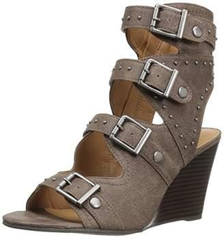 Sugar Women's Hucklebaby Buckle Stud Grommet Stacked Wedge Sandal