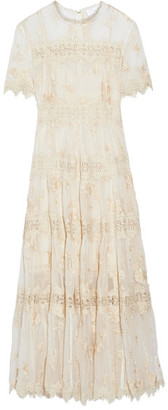 Zimmermann - Tropicale Antique Lace-trimmed Crinkled Silk-chiffon Dress - Ivory $1,495 thestylecure.com