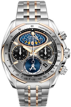 Citizen Men's Eco-Drive Chronograph Signature Moon Phase Flyback Two Tone Stainless Steel Bracelet Watch 44mm AV3006-50H