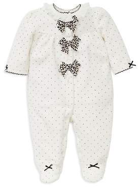 Little Me Girls' Dotted Velour Footie with Leopard-Print Bows - Baby