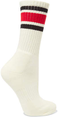 Junya Watanabe Striped Ribbed Cotton-blend Socks - White