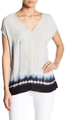 Love Stitch V-Neck Short Sleeve Relaxed Fit Print Blouse