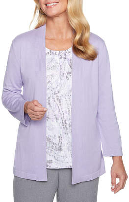 Alfred Dunner Smart Investments 3/4 Sleeve Layered Sweaters