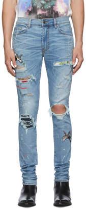Amiri Blue Art Patch Crane Jeans
