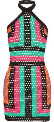Balmain Crocheted Mini Halterneck Dress