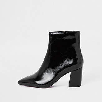 River Island Womens Black patent pointed block heel boots