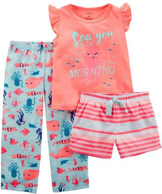 """Carter's Baby Girl Sea You In The Morning"""" Top, Shorts & Pants Pajama Set"""
