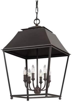 Feiss Murray Lighting Galloway Six Light Foyer Dark Antique Copper/Antique Copper