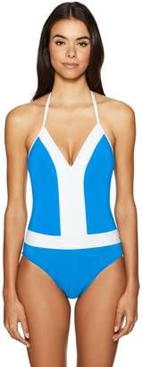 Bleu Rod Beattie Bleu | Rod Beattie Women's Summer Solids Plunge Hlater Mio One-Piece Swimsuit
