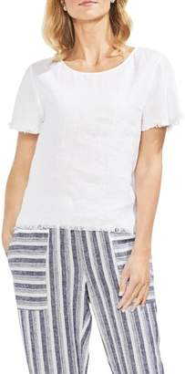 Vince Camuto Frayed Edge Linen Tee