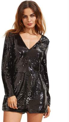 Shein Deep Plunge Neck Sequined Romper