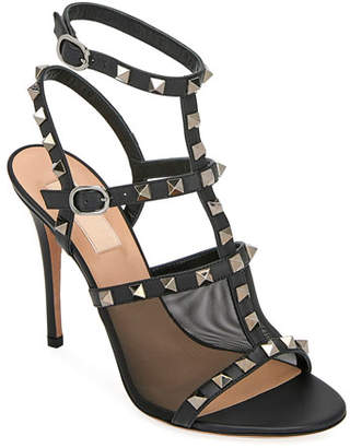 Valentino Rockstud Mesh/Leather T-Strap Sandals