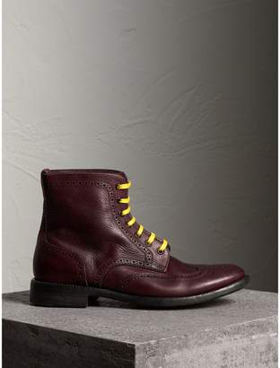 Burberry Leather Brogue Boots with Bright Laces