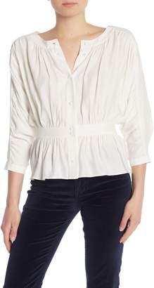 Frame 3/4 Dolman Sleeve Solid Silk Blouse