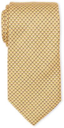 Brioni Gold Silk Geometric Print Tie