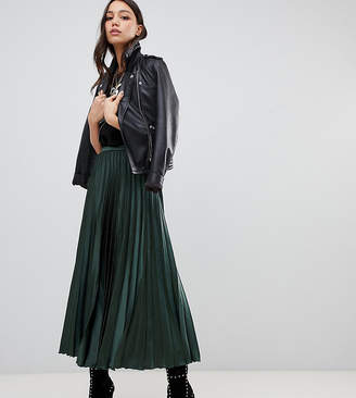 Asos DESIGN Tall satin pleated midi skirt