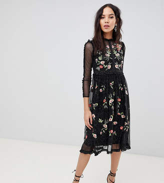 Frock And Frill Tall Floral Premium Embroidered Metallic Tulle Skater Dress