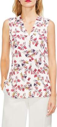 Vince Camuto Floral V-Neck Sleeveless Blouse