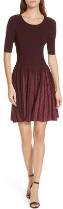 Milly Metallic Pleat Fit & Flare Dress