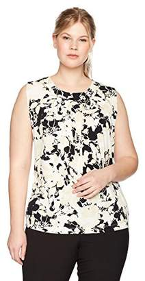 Kasper Women's Plus Size Neutral Floral Scoop Neck Pleated Ity Tank