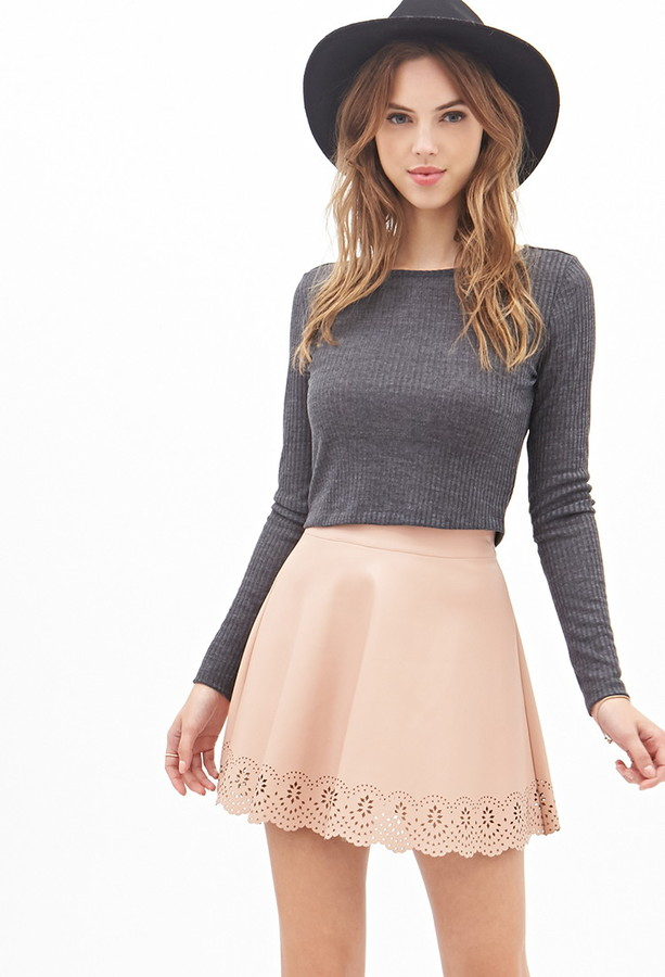 Forever 21 Scalloped Faux Leather Skirt