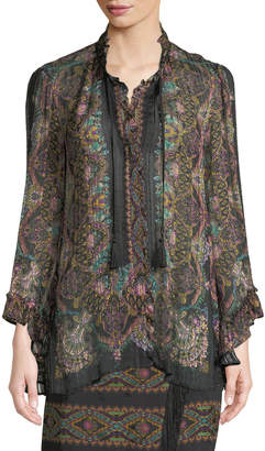 Etro Tassel-Tie Long-Sleeve Damask-Print Silk Ribbon Blouse