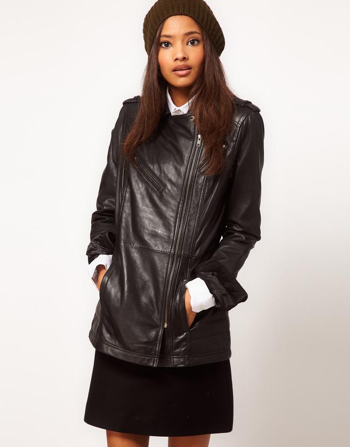Asos Longline Leather Jacket