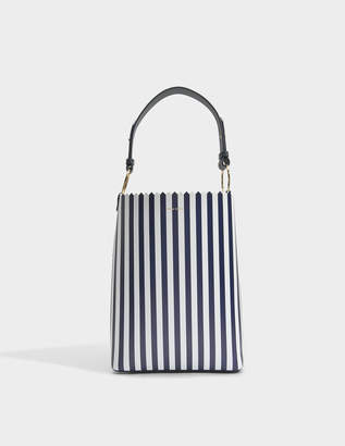 Mother of Pearl Ora Shopper Bag in Navy and White Calfskin