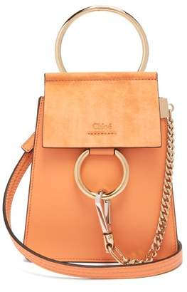 Chloé Faye Mini Suede Panel Leather Cross Body Bag - Womens - Coral