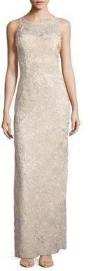 Adrianna PapellSleeveless Embroidered Illusion Column Gown
