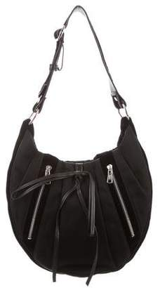Saint Laurent Velvet-Trimmed Canvas Shoulder Bag
