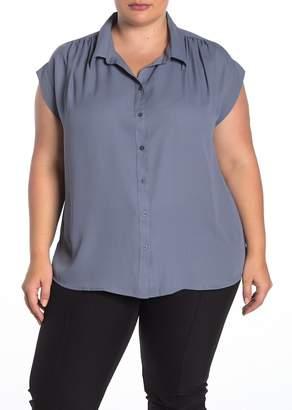 14th & Union Cap Sleeve Button Front Shirt (Plus Size)
