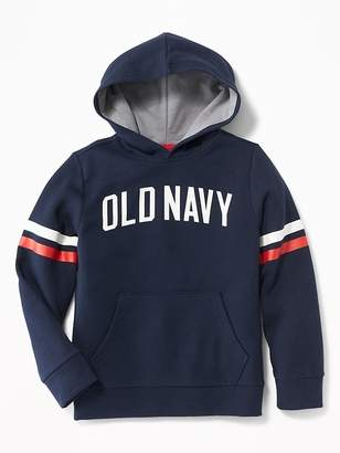 Old Navy Logo-Graphic Sleeve-Stripe Pullover Hoodie for Boys