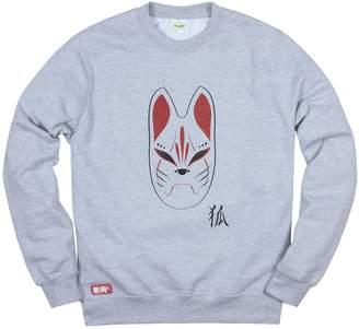 Kitsune Strand Clothing Japanese Sweatshirt Fox Mask Shirt - Kitsunemen Inari Japan Anime Manga Kawaii Printed Jumper - M