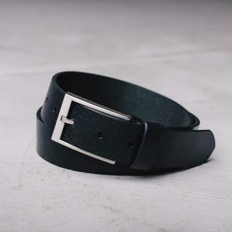 DSTLD Mens Thin Leather Belt in Black