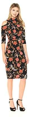 Sangria Women's Floral Cold Shoulder Midi Dress