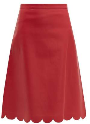 baa397553 RED Valentino Scalloped Leather Midi Skirt - Womens - Red
