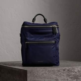 Burberry Zip-top Leather Trim Showerproof Backpack