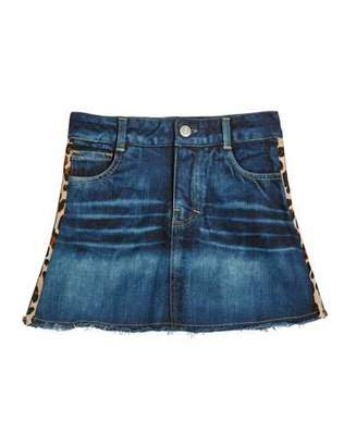 Flowers by Zoe Girl's Denim Skirt w/ Leopard & Glitter Taping, Size S-XL