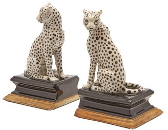 House Of Hackney - Cheetah Porcelain Bookends - Black Multi